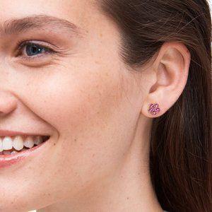 KATE SPADE flower stud earrings- deep magenta